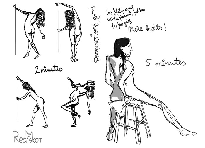 2 minute poses and 5 minutes pose