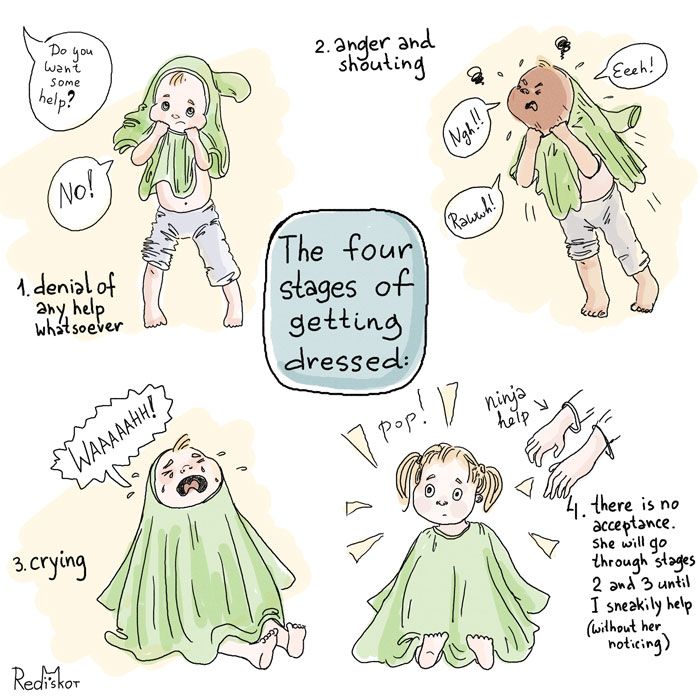 The 4 stages of getting dressed